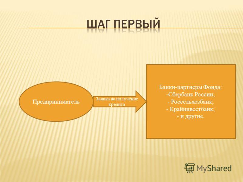 Предприниматель Заявка на получение кредита Банки-партнеры Фонда: -Сбербанк России; - Россельхозбанк; - Крайинвестбанк; - и другие.