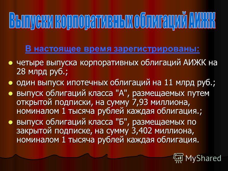 четыре выпуска корпоративных облигаций АИЖК на 28 млрд руб.; четыре выпуска корпоративных облигаций АИЖК на 28 млрд руб.; один выпуск ипотечных облигаций на 11 млрд руб.; один выпуск ипотечных облигаций на 11 млрд руб.; выпуск облигаций класса