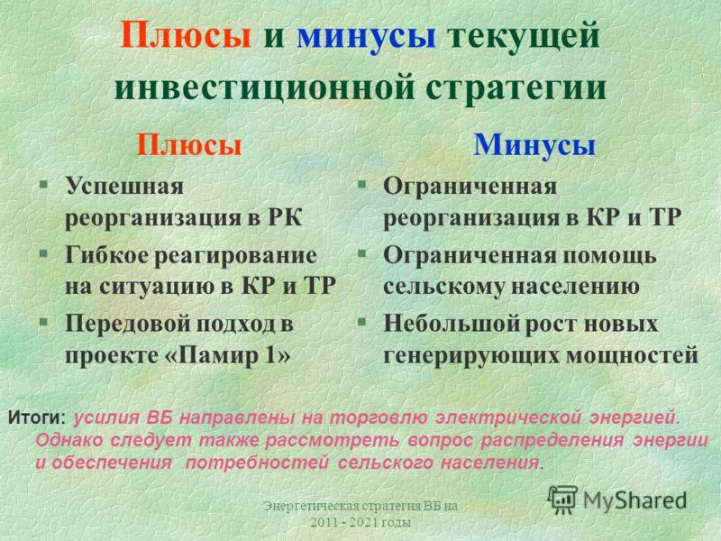 Энергетическая стратегия ВБ на 2011 - 2021 годы Действующие и планируемые проекты Всемирного Банка (ВБ) в энергетику Центральной Азии Действующие проекты Планируемые проекты, включая CASA 1000
