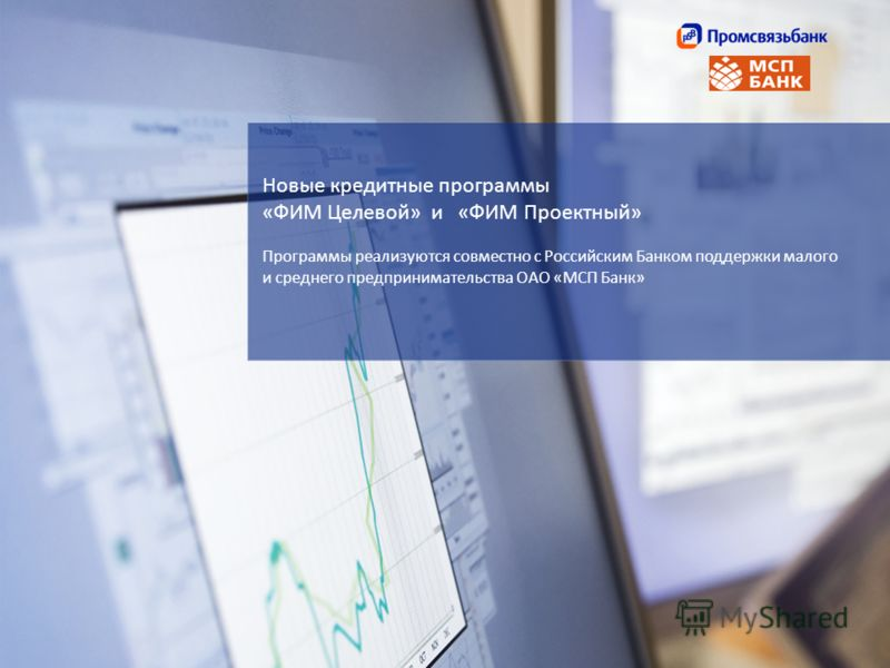 Новые кредитные программы «ФИМ Целевой» и «ФИМ Проектный» Программы реализуются совместно с Российским Банком поддержки малого и среднего предпринимательства ОАО «МСП Банк»