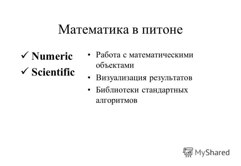 Математика в питоне Numeric Scientific Работа с математическими объектами Визуализация результатов Библиотеки стандартных алгоритмов
