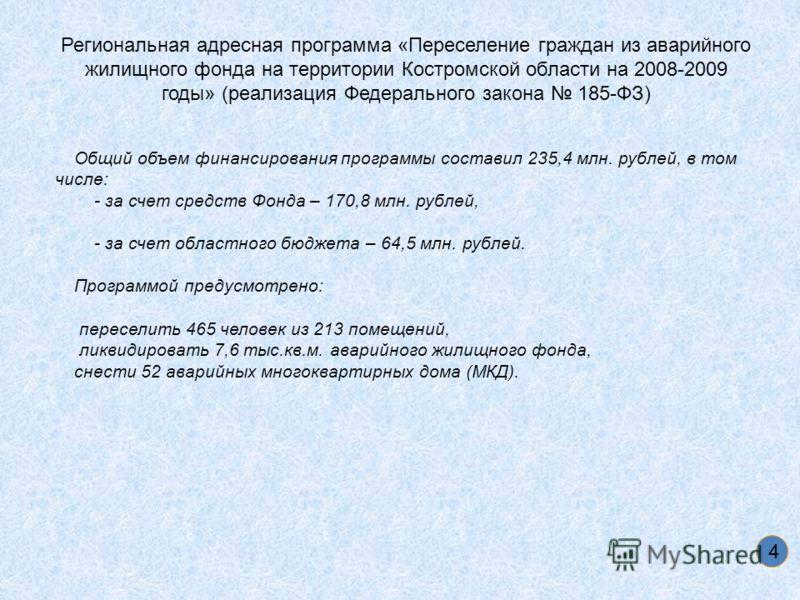 4 Региональная адресная программа «Переселение граждан из аварийного жилищного фонда на территории Костромской области на 2008-2009 годы» (реализация Федерального закона 185-ФЗ) Общий объем финансирования программы составил 235,4 млн. рублей, в том ч