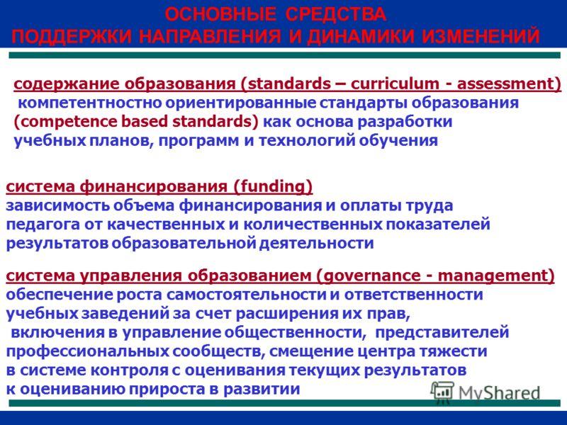 ОСНОВНЫЕ СРЕДСТВА ПОДДЕРЖКИ НАПРАВЛЕНИЯ И ДИНАМИКИ ИЗМЕНЕНИЙ содержание образования (standards – curriculum - assessment) компетентностно ориентированные стандарты образования (competence based standards) как основа разработки учебных планов, програм