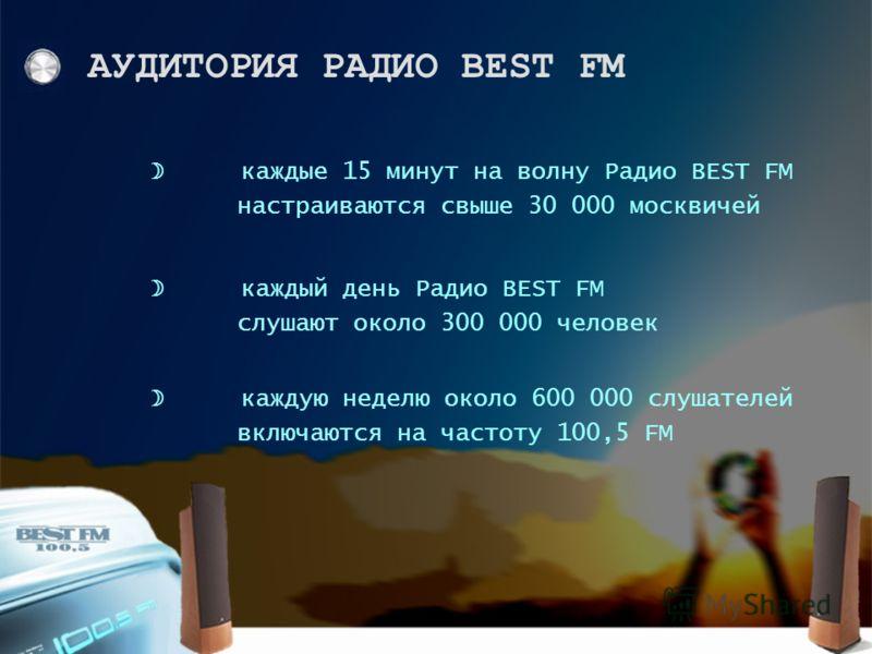 каждую неделю около 600 000 слушателей включаются на частоту 100,5 FM каждый день Радио BEST FM слушают около 300 000 человек каждые 15 минут на волну Радио BEST FM настраиваются свыше 30 000 москвичей АУДИТОРИЯ РАДИО BEST FM