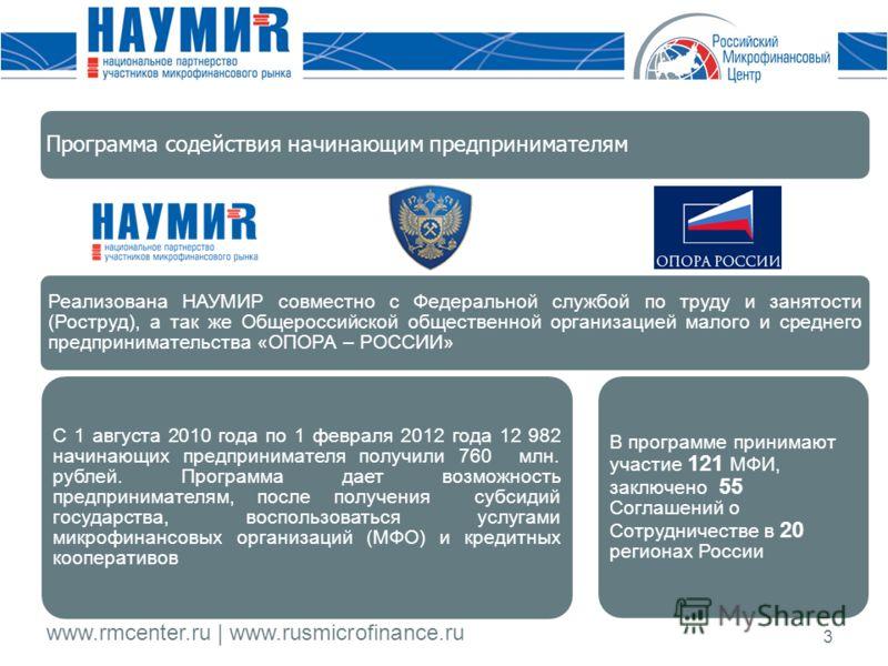 www.rmcenter.ru | www.rusmicrofinance.ru 3 Программа содействия начинающим предпринимателям Реализована НАУМИР совместно с Федеральной службой по труду и занятости (Роструд), а так же Общероссийской общественной организацией малого и среднего предпри