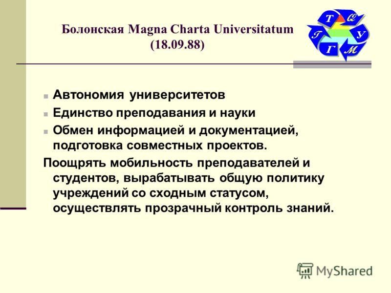 Болонская Magna Charta Universitatum (18.09.88) Автономия университетов Единство преподавания и науки Обмен информацией и документацией, подготовка совместных проектов. Поощрять мобильность преподавателей и студентов, вырабатывать общую политику учре