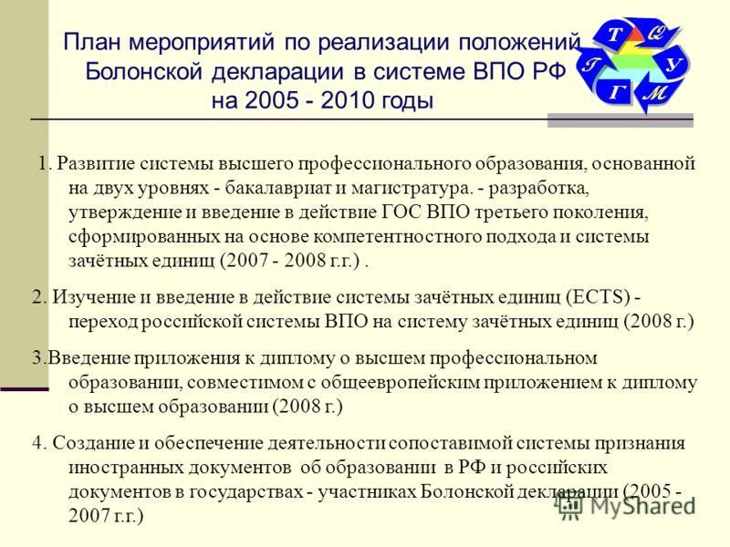 План мероприятий по реализации положений Болонской декларации в системе ВПО РФ на 2005 - 2010 годы 1. Развитие системы высшего профессионального образования, основанной на двух уровнях - бакалавриат и магистратура. - разработка, утверждение и введени
