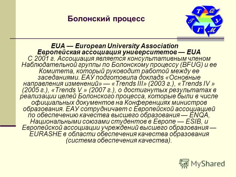 Болонский процесс EUA European University Association Европейская ассоциация университетов EUA С 2001 г. Ассоциация является консультативным членом Наблюдательной группы по Болонскому процессу (BFUG) и ее Комитета, который руководит работой между ее