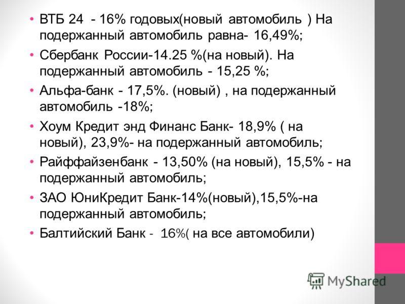 ВТБ 24 - 16% годовых ( новый автомобиль ) На подержанный автомобиль равна - 16,49%; Сбербанк России -14.25 %( на новый ). На подержанный автомобиль - 15,25 %; Альфа - банк - 17,5%. ( новый ), на подержанный автомобиль -18%; Хоум Кредит энд Финанс Бан