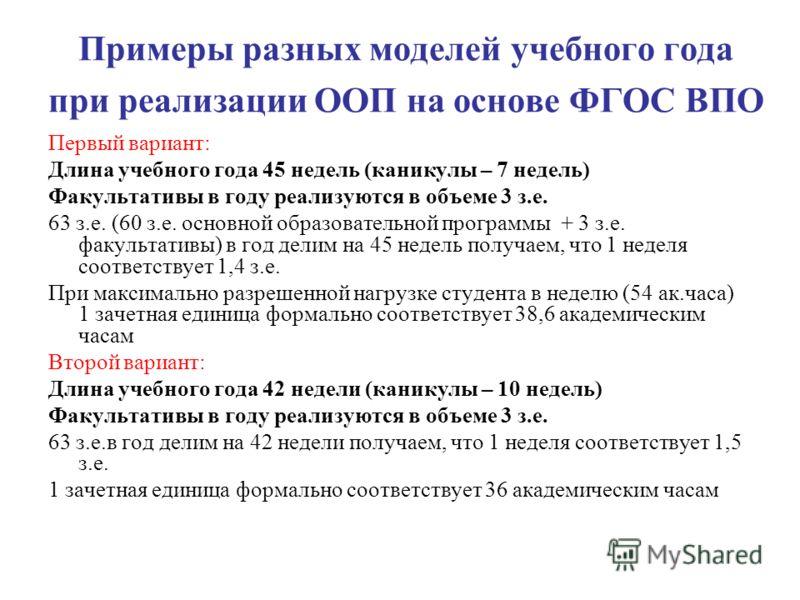 Примеры разных моделей учебного года при реализации ООП на основе ФГОС ВПО Первый вариант: Длина учебного года 45 недель (каникулы – 7 недель) Факультативы в году реализуются в объеме 3 з.е. 63 з.е. (60 з.е. основной образовательной программы + 3 з.е