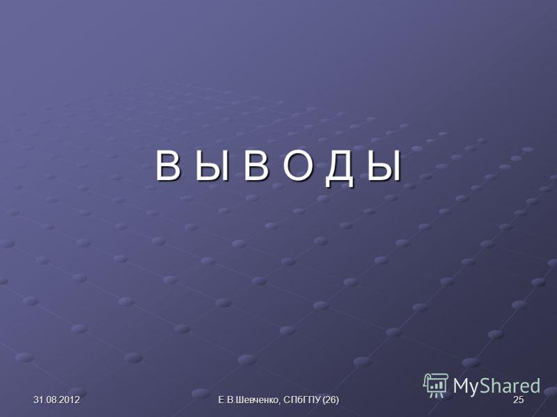 В Ы В О Д Ы 31.08.201225Е.В.Шевченко, СПбГПУ (26)