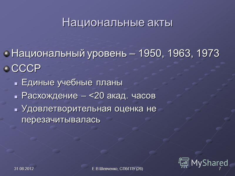 Национальные акты Национальный уровень – 1950, 1963, 1973 СССР Единые учебные планы Единые учебные планы Расхождение –
