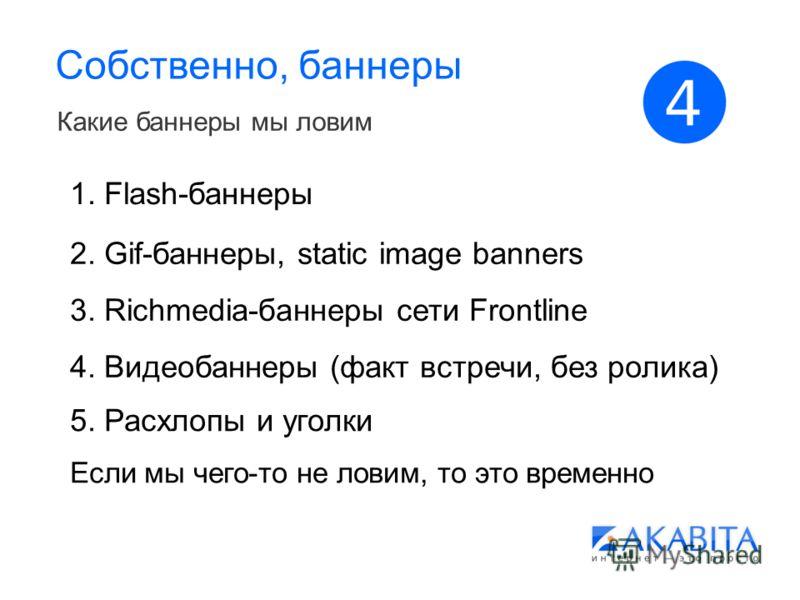 Собственно, баннеры Какие баннеры мы ловим 1. Flash-баннеры 2. Gif-баннеры, static image banners 3. Richmedia-баннеры сети Frontline 4. Видеобаннеры (факт встречи, без ролика) 5. Расхлопы и уголки Если мы чего-то не ловим, то это временно