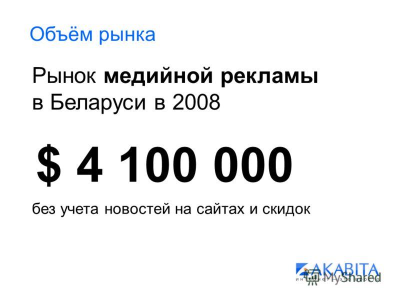 Объём рынка Рынок медийной рекламы в Беларуси в 2008 $ 4 100 000 без учета новостей на сайтах и скидок