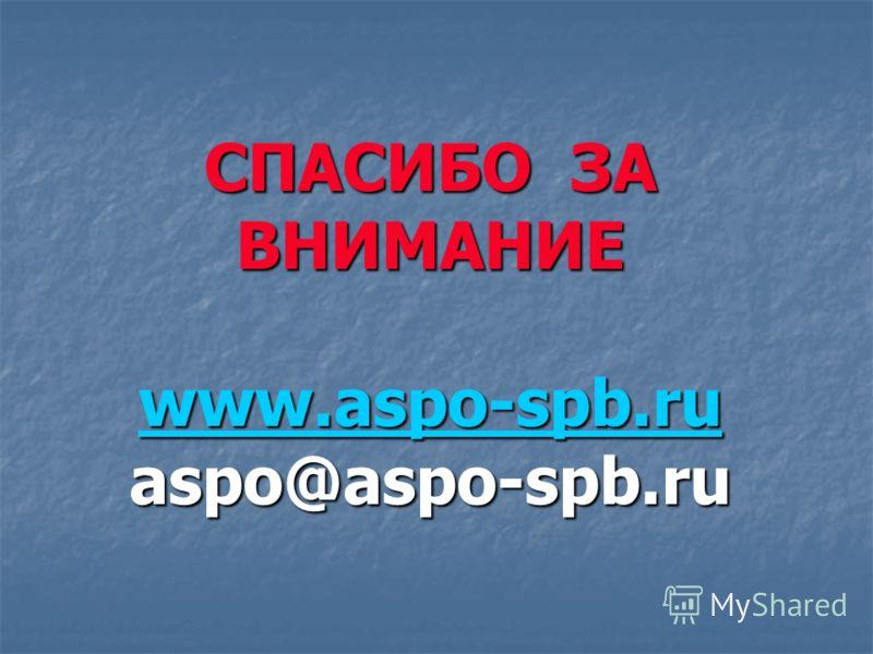 СПАСИБО ЗА ВНИМАНИЕ www.aspo-spb.ru aspo@aspo-spb.ru www.aspo-spb.ru