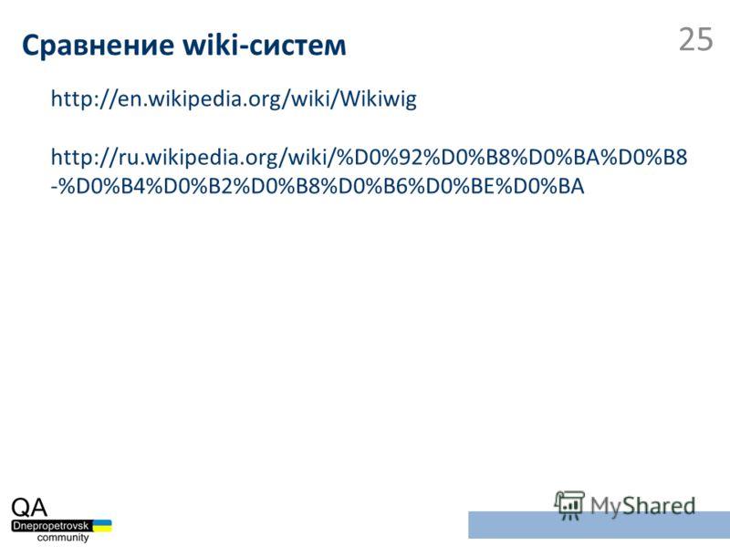 http://en.wikipedia.org/wiki/Wikiwig http://ru.wikipedia.org/wiki/%D0%92%D0%B8%D0%BA%D0%B8 -%D0%B4%D0%B2%D0%B8%D0%B6%D0%BE%D0%BA Сравнение wiki-систем 25