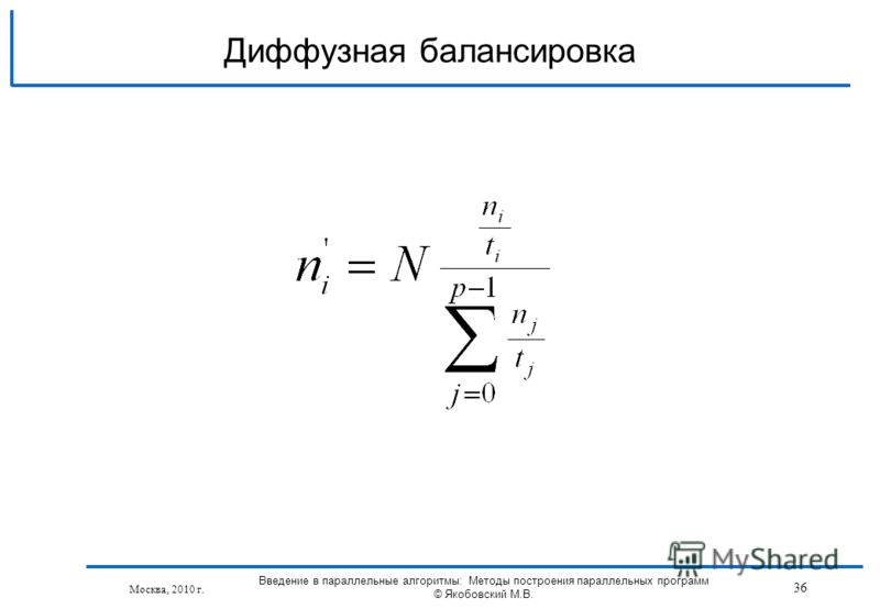 Москва, 2010 г. 36 Введение в параллельные алгоритмы: Методы построения параллельных программ © Якобовский М.В. Диффузная балансировка