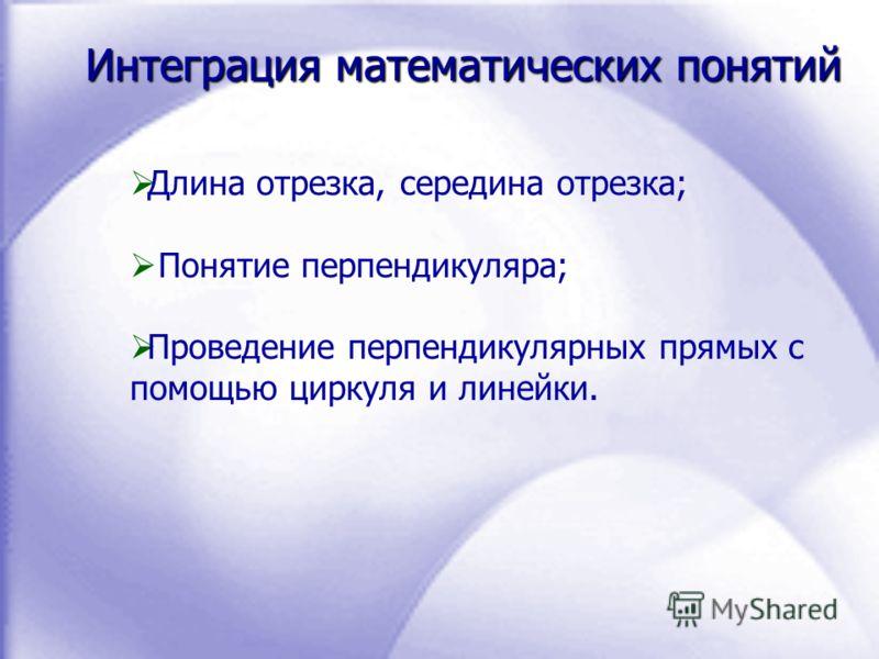 Интеграция математических понятий Длина отрезка, середина отрезка; Понятие перпендикуляра; Проведение перпендикулярных прямых с помощью циркуля и линейки.