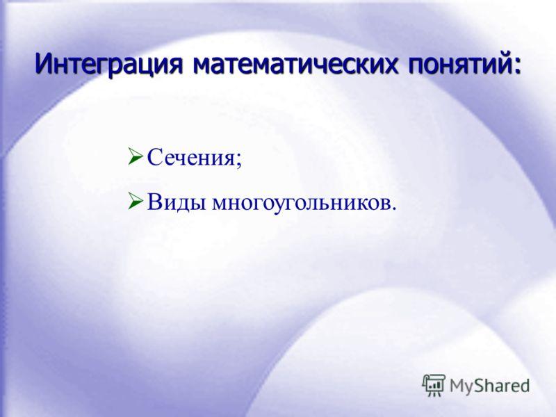 Интеграция математических понятий: Сечения; Виды многоугольников.