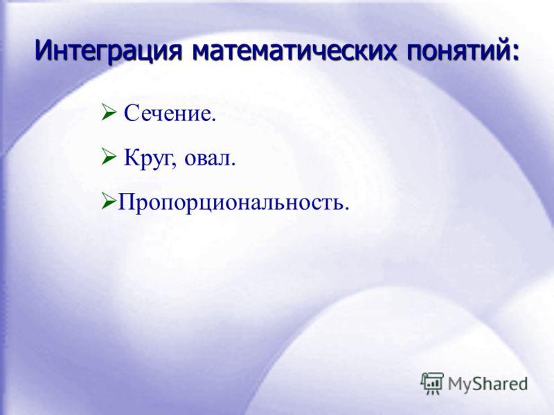 Интеграция математических понятий: Сечение. Круг, овал. Пропорциональность.