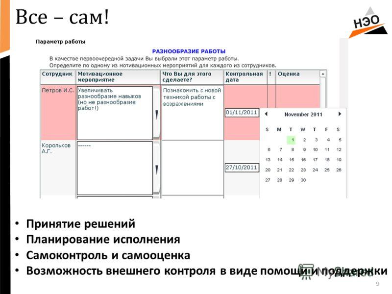 Все – сам! 9 Принятие решений Планирование исполнения Самоконтроль и самооценка Возможность внешнего контроля в виде помощи и поддержки