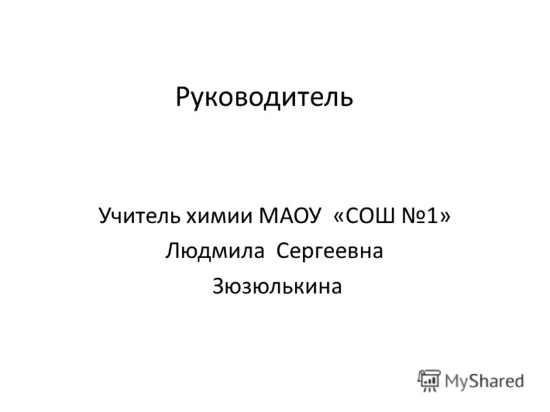 Руководитель Учитель химии МАОУ «СОШ 1» Людмила Сергеевна Зюзюлькина