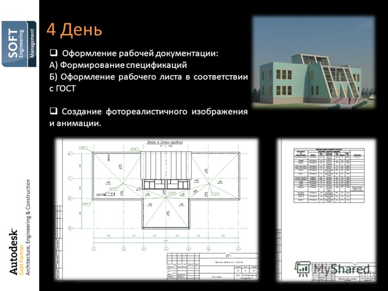 4 День Оформление рабочей документации: А) Формирование спецификаций Б) Оформление рабочего листа в соответствии с ГОСТ Создание фотореалистичного изображения и анимации.