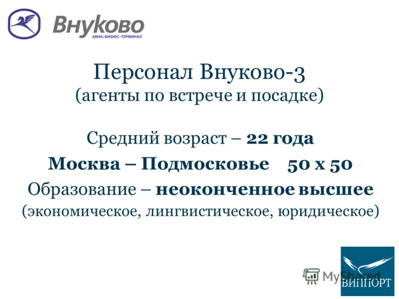 Персонал Внуково-3 (агенты по встрече и посадке) Средний возраст – 22 года Москва – Подмосковье50 х 50 Образование – неоконченное высшее (экономическое, лингвистическое, юридическое)