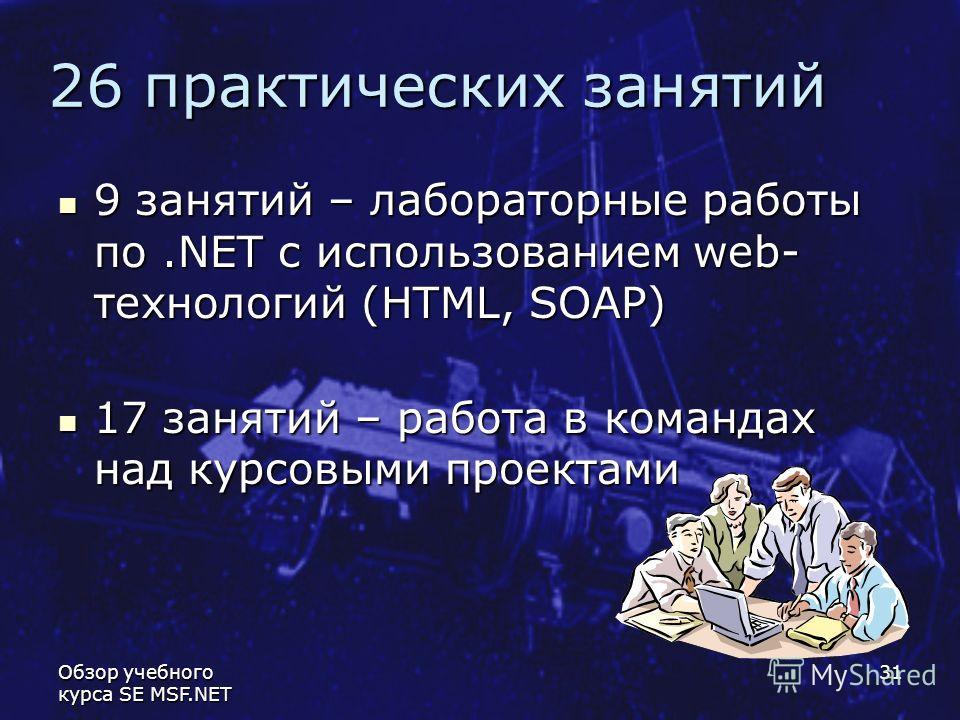 Обзор учебного курса SE MSF.NET 31 26 практических занятий 9 занятий – лабораторные работы по.NET с использованием web- технологий (HTML, SOAP) 9 занятий – лабораторные работы по.NET с использованием web- технологий (HTML, SOAP) 17 занятий – работа в