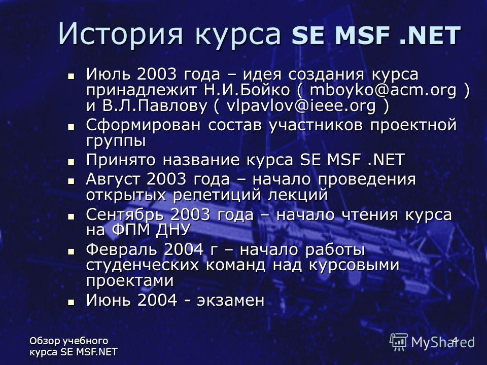 Обзор учебного курса SE MSF.NET 4 История курса SE MSF.NET Июль 2003 года – идея создания курса принадлежит Н.И.Бойко ( mboyko@acm.org ) и В.Л.Павлову ( vlpavlov@ieee.org ) Июль 2003 года – идея создания курса принадлежит Н.И.Бойко ( mboyko@acm.org )