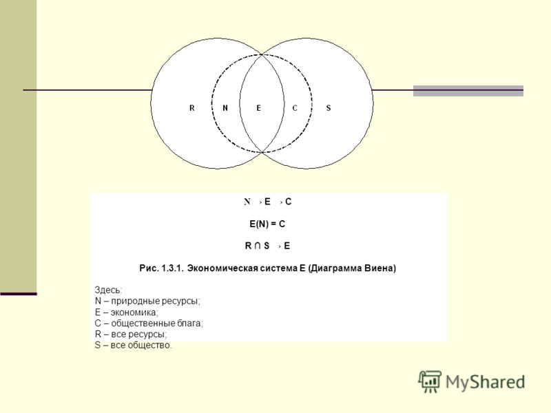 N E C E(N) = C R S E Рис. 1.3.1. Экономическая система Е (Диаграмма Виена) Здесь: N – природные ресурсы; E – экономика; C – общественные блага; R – все ресурсы; S – все общество.