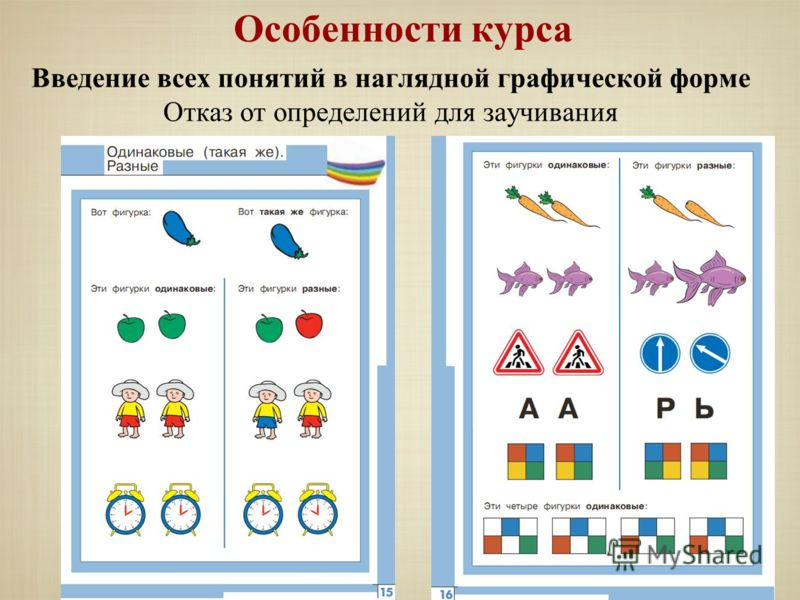 Особенности курса Введение всех понятий в наглядной графической форме Отказ от определений для заучивания