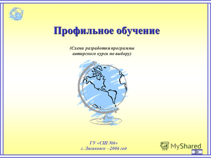 Профильное обучение (Схема разработки программы авторского курса по выбору) ГУ «СШ 6» г. Лисаковск –2006 год
