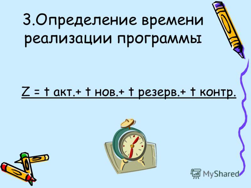 3.Определение времени реализации программы Z = t акт.+ t нов.+ t резерв.+ t контр.