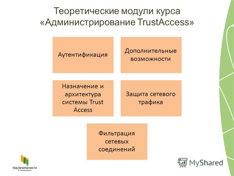 Теоретические модули курса «Администрирование TrustAccess» Аутентификация Дополнительные возможности Назначение и архитектура системы Trust Access Защита сетевого трафика Фильтрация сетевых соединений