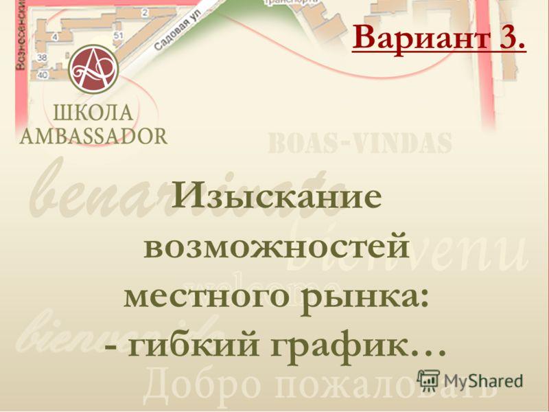 Гостиница Амбассадор Вариант 3. Изыскание возможностей местного рынка: - гибкий график…