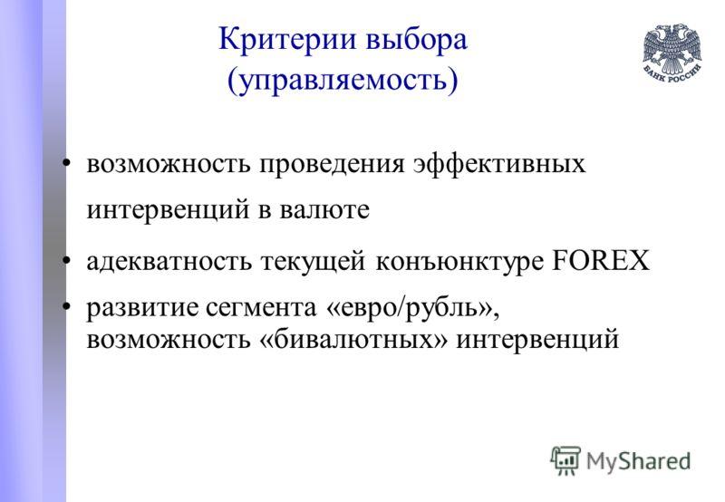 Критерии выбора (управляемость) возможность проведения эффективных интервенций в валюте адекватность текущей конъюнктуре FOREX развитие сегмента «евро/рубль», возможность «бивалютных» интервенций