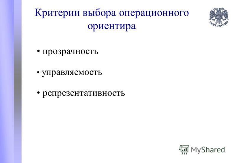 Критерии выбора операционного ориентира прозрачность управляемость репрезентативность