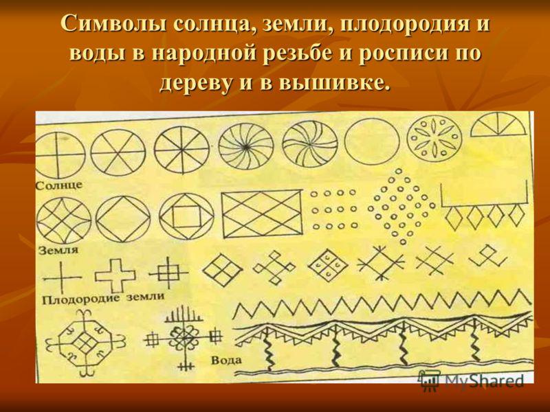 Символы солнца, земли, плодородия и воды в народной резьбе и росписи по дереву и в вышивке.