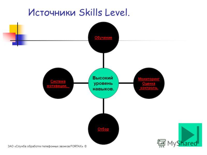 Источники Skills Level. Высокий уровень навыков. Обучение Мониторинг Оценка контроль. Отбор Система мотивации. ЗАО «Служба обработки телефонных звонков FORTAX» ©