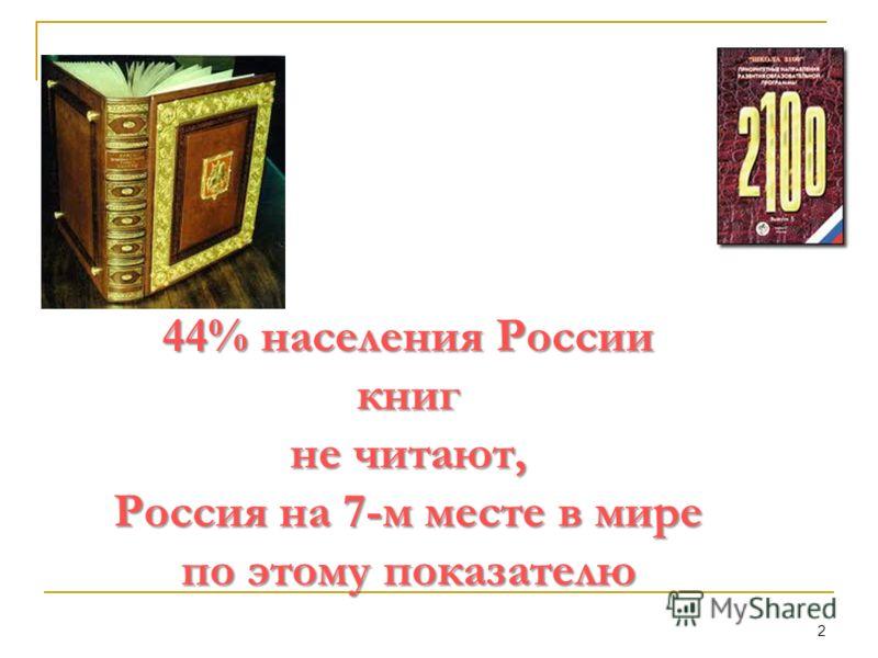 2 44% населения России книг не читают, Россия на 7-м месте в мире по этому показателю