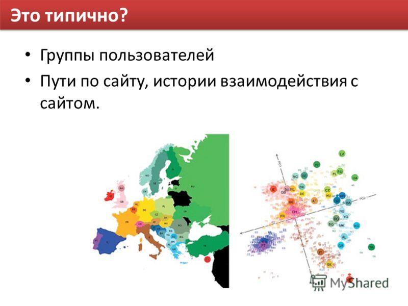 Это типично? Группы пользователей Пути по сайту, истории взаимодействия с сайтом.
