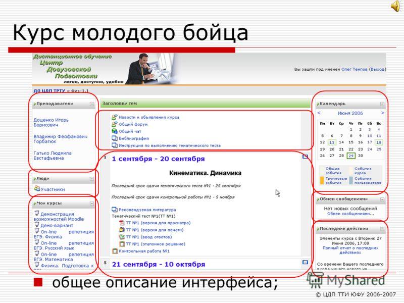 © ЦДП ТТИ ЮФУ 2006-2007 Курс молодого бойца общее описание интерфейса;