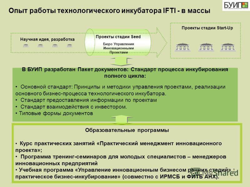 Опыт работы технологического инкубатора IFTI - в массы Бюро Управления Инновационными Проектами Проекты стадии Seed Проекты стадии Start-Up В БУИП разработан Пакет документов: Стандарт процесса инкубирования полного цикла: Основной стандарт: Принципы