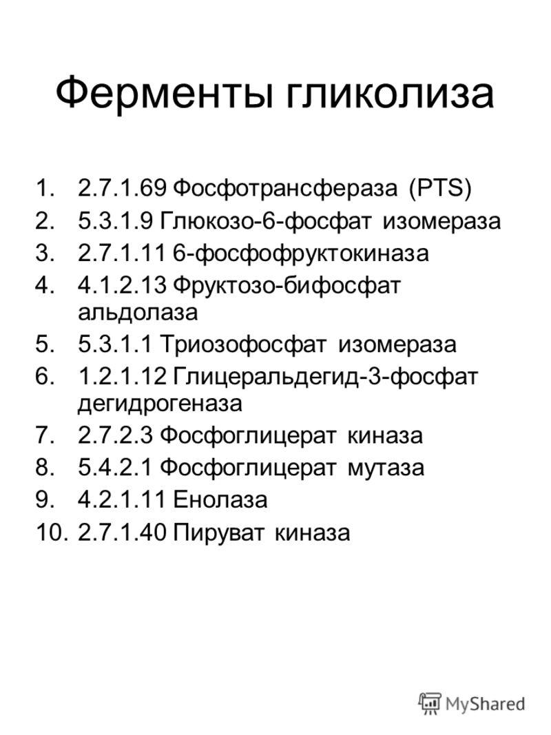 Ферменты гликолиза 1.2.7.1.69 Фосфотрансфераза (PTS) 2.5.3.1.9 Глюкозо-6-фосфат изомераза 3.2.7.1.11 6-фосфофруктокиназа 4.4.1.2.13 Фруктозо-бифосфат альдолаза 5.5.3.1.1 Триозофосфат изомераза 6.1.2.1.12 Глицеральдегид-3-фосфат дегидрогеназа 7.2.7.2.