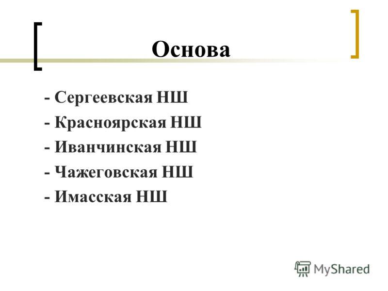 Основа - Сергеевская НШ - Красноярская НШ - Иванчинская НШ - Чажеговская НШ - Имасская НШ