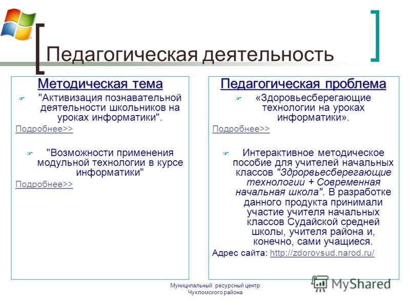Муниципальный ресурсный центр Чухломского района Педагогическая деятельность Методическая тема