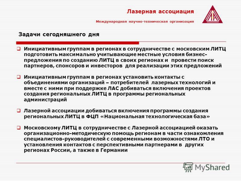 Лазерная ассоциация Международная научно-техническая организация Задачи сегодняшнего дня Инициативным группам в регионах в сотрудничестве с московским ЛИТЦ подготовить максимально учитывающие местные условия бизнес- предложения по созданию ЛИТЦ в сво