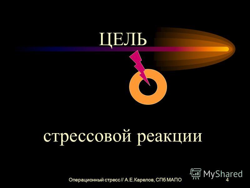Операционный стресс // А.Е.Карелов, СПб МАПО4 ЦЕЛЬ стрессовой реакции