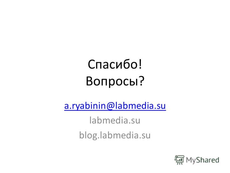 Спасибо! Вопросы? a.ryabinin@labmedia.su labmedia.su blog.labmedia.su